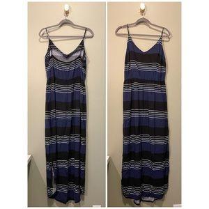 Old Navy Black/Blue/White Striped Maxi Dress 1X